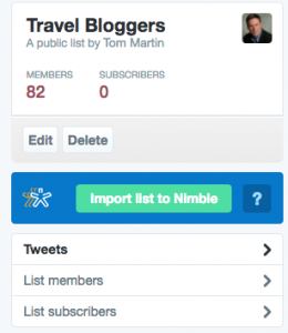 Nimble Twitter List Import Feature
